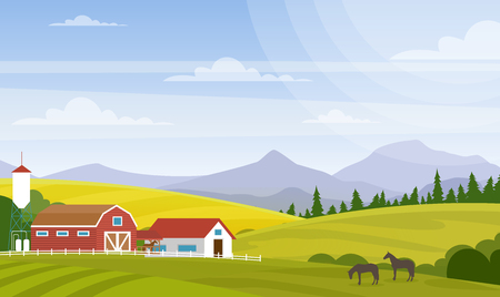 Vector illustration of rural landscape. Beautiful countryside with farm and horses on fields, house and mountains for web design development, natural background in cartoon flat style Standard-Bild - 126915474