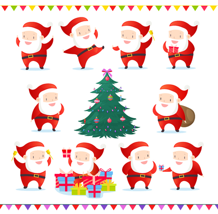 Vector illustration set of cute and funny Santas in different poses. Collection of Santa Claus and Christmas tree with decorations. Happy New Year. Merry Christmas set in cartoon flat style Standard-Bild - 126915475