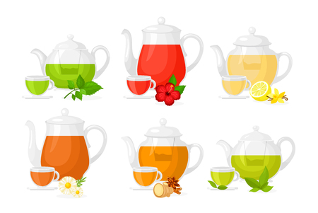 Vector illustration set of different types of tea. Set of pots and cups with different ingredients herbs and lemon, fruits and ginger isolated on white background in flat style Standard-Bild - 126915476