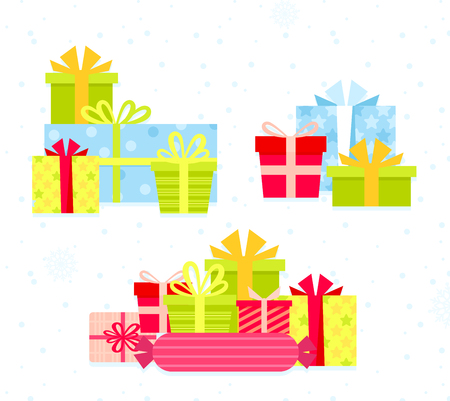 Vector illustration set of different colorful gift boxes. Flat cartoon design present boxes with bows in bright colors. Christmas gifts collection, birthdays presents Standard-Bild - 126915477