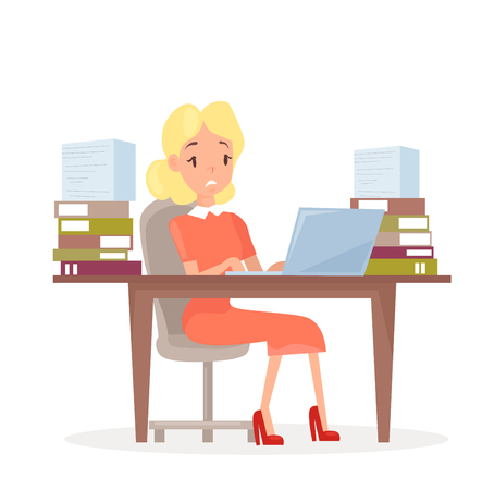 Vector illustration of working business woman at the desk with laptop and lot of papers. Woman in office in stress. Manager tired and working on computer, stressed girl in cartoon flat style Standard-Bild - 126915478
