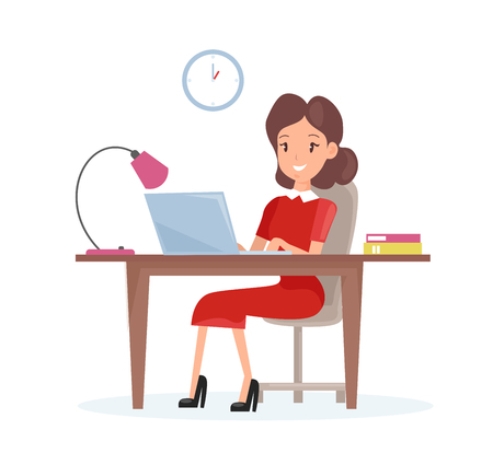 Vector illustration concept of business woman. Happy woman is working on the laptop computer at the desk in cartoon flat style Standard-Bild - 126915479