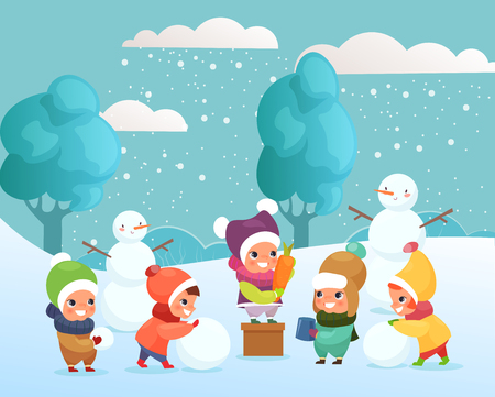 Vector illustration of happy funny and cute kids playing with snow, making snowman outside. children playing, winter holidays concept in flat cartoon style Standard-Bild - 126915480