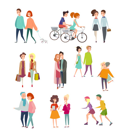 Vector illustration big set of walking and standing people, happy friends, hugging couples, people riding bicycles, walking together or pairs of men and women on date. Colorful characters collection isolated on white background in flat cartoon style Standard-Bild - 126915482