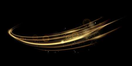 Vector illustration of golden dynamick lights linze effect isolated on black color background. Abstract background for science, futuristic, energy technology concept. Digital image lines with light, speed background