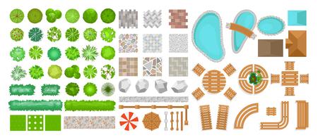 Ensemble d'illustration vectorielle d'éléments de parc pour l'aménagement paysager. Vue de dessus des arbres, des meubles d'extérieur, des plantes et des éléments architecturaux, des clôtures, des chaises longues, des parasols isolés sur fond blanc isolé sur fond blanc dans un style plat