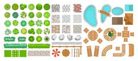 Vector illustration set of park elements for landscape design. Top view of trees, outdoor furniture, plants and architectural elements, fences, sun loungers, umbrellas isolated on white background isolated on white background in flat style