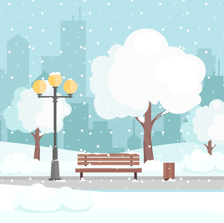 Vector illustration of winter city park with snow and modern city background. Bench in winter city park, winter holidays concept in flat cartoon style, greeting card background