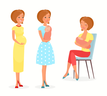 Vector illustration of pregnant woman, woman with a baby and breastfeeding. Mother with a baby, feeds baby with breast. Happy motherhood concept in flat cartoon style. Young mother Иллюстрация