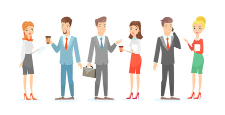 Vector illustration set of business people with documents and gadgets, businessman and businesswoman talking. Business people characters isolated on white background in flat cartoon style