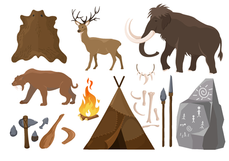 Vector illustration of big set of elements of stone age attributes. Primitive ice age elements. Stone age. Hunting tools, mammoth, wigwam and animals bones and skin for anicent time concept in flat cartoon design. Illustration