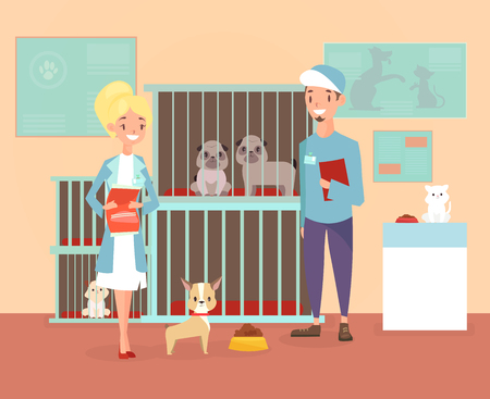 Vector illustration of animal shelter with volunteers characters with dogs and cat. Shelter, adopt pets concept. Happy pets in shelter with veterinars in cartoon flat style Reklamní fotografie - 125537381