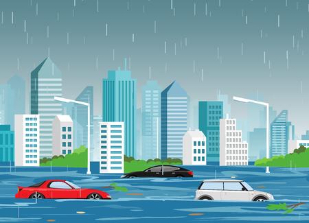 Vektorillustration der Flutnaturkatastrophe in der modernen Stadt der Karikatur mit Wolkenkratzern und Autos im Wasser. Sturm in der Stadt, Landschaftshintergrund für Webbanner im flachen Stil.