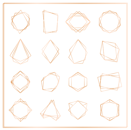 Vector illustration of gold segments frames set isolated on white background. Geometric polyhedron thin line frames collection for wedding invitation, greeting cards, logo, elements for web banner.