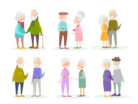 Vector illustration set of cute and nice old people couples in different situations and poses on white background. Old man and woman speaking and walking, smiling and standing together, old friends, beautiful old ladies, handsome old men in cartoon flat style