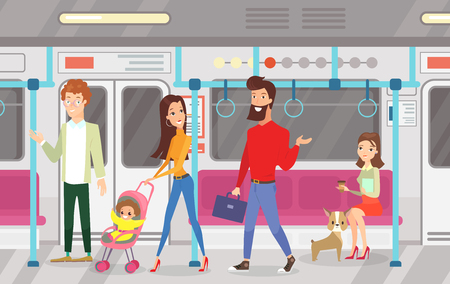 Vector illustration of people in subway underground train. Interior of subway with commuting passengers, sitting and talking women, standing woman and man with kid in cartoon flat style. Zdjęcie Seryjne - 122698995