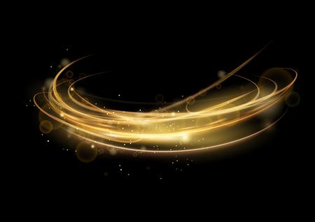 Illustrazione vettoriale di effetto luce trasparente astratto dorato isolato su sfondo nero, scintillii rotondi e linee di luce in colore dorato. Sfondo astratto per la scienza, il futuristico, il concetto di tecnologia energetica. Linee di immagini digitali con luce dorata, sfondo di velocità Vettoriali
