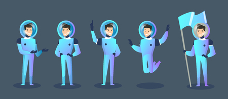 Vector illustration set of cartoon characters spaceman in different positions, moving cosmonaut in spacesuit and helmet isolated on dark blue background. Happy cosmonaut. Elements for futuristic conce