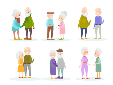 Vector illustration set of cute and lovely old people couples and old friends isolated on white background. Healthy and active grandparents. Elderly people characters in different positions and action 일러스트