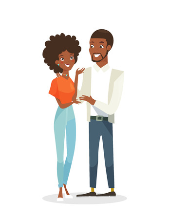 Vector illustration of black young pretty woman and handsome man standing together. Happy people in love, African American couple. Man and woman in flat cartoon style isolated on white background Illustration