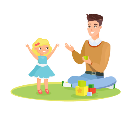 Vector illustration of father and young daughter playing on the carpet with toys, daddy and kid, happy daddy s day concept. Happy child and father playing together, isolated on white background in cartoon flat style