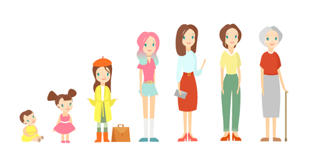 Vector illustration of a woman in different ages. Cute baby girl, a child, a pupil, a teenager, an adult, an elderly female person. The life cycle of a woman, girl is growing up and becoming older in cartoon flat style on white background