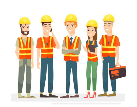 Vector illustration of construction workers team characters. Men and women in uniforms and helmets on white background in cartoon flat style