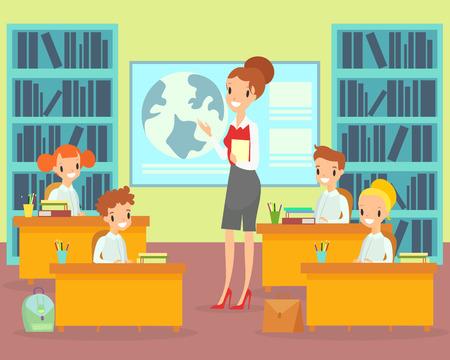 Niños de ilustración vectorial en el aula con el maestro. Maestra enseña a los estudiantes en la escuela primaria, preescolar de niños felices que estudian. Estudiantes con profesor en estilo de dibujos animados planos