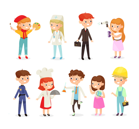 Vector illustration set of young kids boys and girls of different professions. Doctor, builder, cook, policeman and painter, chemist kids in cartoon flat style Illustration