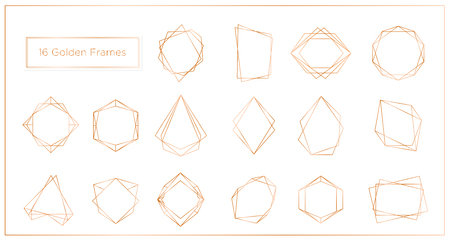 Vector illustration of gold segments frames set on white background. Geometric polyhedron thin line frames collection best for wedding invitation, greeting cards, logo, elements for web banner. Illustration
