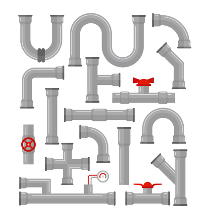 Vector illustration set of pipes different types isolated on white background. Water tubes, elements for gas valve construction, oil industrial concept in flat style