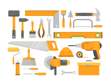 Set of bright orange building repair home construction tools isolated on white background. Brick hammer, level meter, drill screwdriver, construction plummet, safety helmet, chisel, circular saw