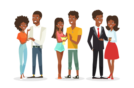 Vector illustration set of cute African American couples on the date. Young woman and man. Black people, family. Handsome man and pretty woman in flat cartoon style isolated on white background Ilustração
