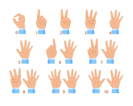 Vector illustration of hands and numbers by fingers. Human hand and number gesture isolated on white background.