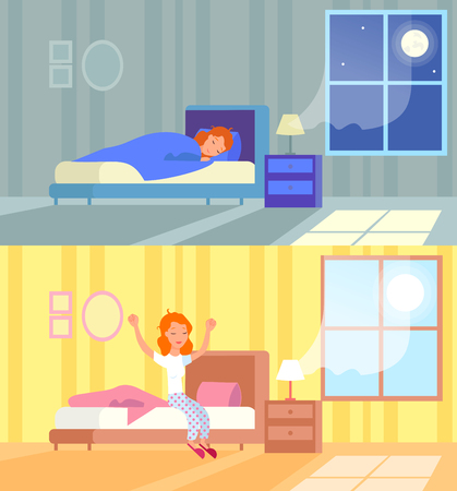 Vector illustration of woman sleeping at night and waking up morning. Sleep in comfy bed concept, good morning, start of the day, wake up. Cartoon flat design concept of sleeping and waking up.