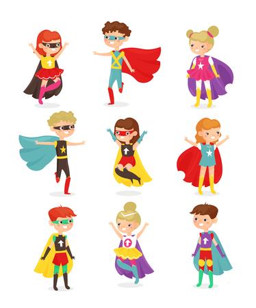 Illustrazione vettoriale di bambini super eroe. Bambini in costumi da supereroi, super poteri, bambini vestiti con maschere. Raccolta di personaggi di bambini sorridenti felici isolati su priorità bassa bianca in stile cartone animato piatto. Vettoriali