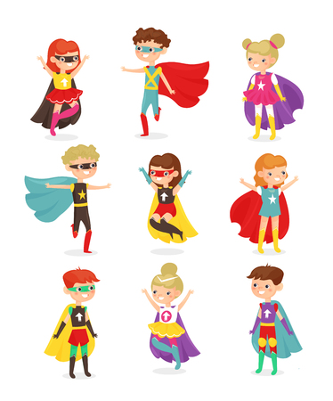Vector illustration of super hero children. Kids in superhero costumes, super powers, kids dressed in masks. Collection of happy smiling kids characters isolated on white background in flat cartoon style. Vektoros illusztráció
