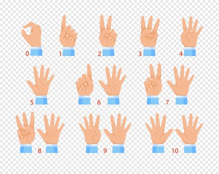 Vector illustration of hands in various gestures, showing different numbers by fingers. Flat cartoon design isolated on transparent background