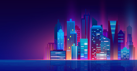 Vector illustration of futuristic night city with neon lights. Cityscape above the water, beautiful night modern city, city lights.