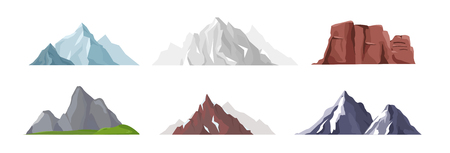 Vector illustration collection of different mountain icons in flat style. Rocks, mountains and hills set isolated on white background.