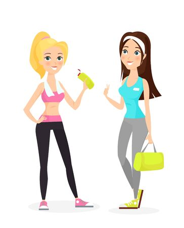Happy smiling healthy strong young brunette and blonde female fitness girls in stylish sport clothes and sneakers with towel, water bottle, gym bag isolated on white background. Vector illustration. Illustration