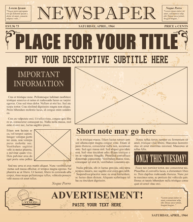 Vector illustration of old newspaper retro design. Vintage background with place for text and images. Standard-Bild - 130861275