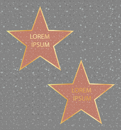 Vector illustration of golden stars, walk of fame famous people, Hollywood actor star concept. Standard-Bild - 130861278