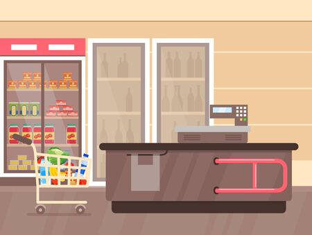 Vector illustration of supermarket interior with counter and fridges with drinks, shelfs and stands with products and goods. Empty supermarket, lines with merchandise. mall interior, grocery store concept in flat cartoon style.