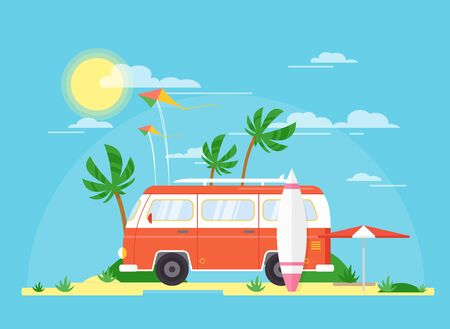 Vector illustration of surfing bus with a surfing board on palm beach. Tourism, summertime concept. Travel trailer in vintage pink color, summer coast in flat cartoon style. Standard-Bild - 130861287