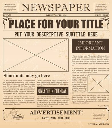 Vector illustration of retro newspaper with old style fonts and vintage effect. Place for pictures and text in vintage newspaper. Standard-Bild - 130861286