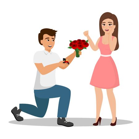 Vector illustration of man proposes a woman to marry him and gives an engagement ring and flowers. An offer of marriage concept with cartoon characters in flat style. Standard-Bild - 130861285
