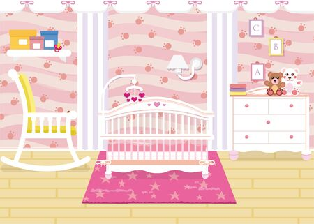Vector illustration of baby room interior with a shelf, toys, cot, bedside table, armchair. Children s room in pink color for baby girl. Standard-Bild - 130861295