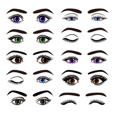 Vector illustration of beautiful female woman eyes and brows in different emotions set collection on white background. Standard-Bild - 130861296
