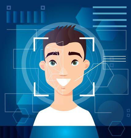 Concept of biometric scanning man s face, digital recognition, id scanning, futuristic digital background. Scan face, verification on screen. Vector illustration. Standard-Bild - 130861297